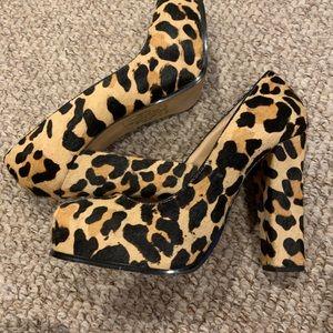 Leopard Print Stacked High Heel - Steve Madden
